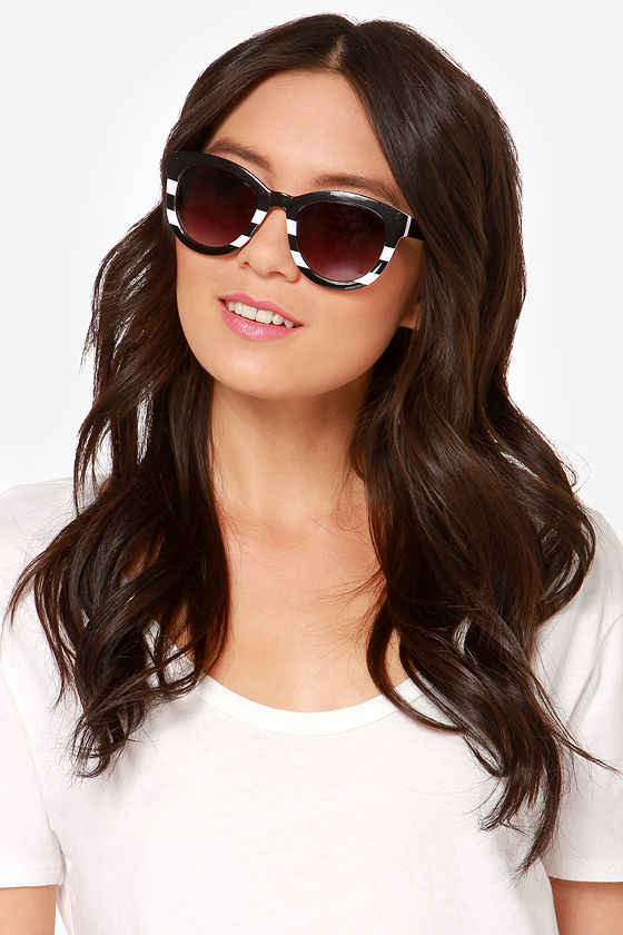 Colette White and Black Striped Sunglasses - $14
