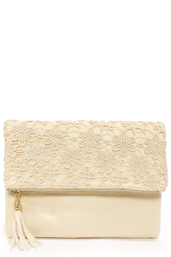Crocheted For Each Other Cream Lace Clutch - $37