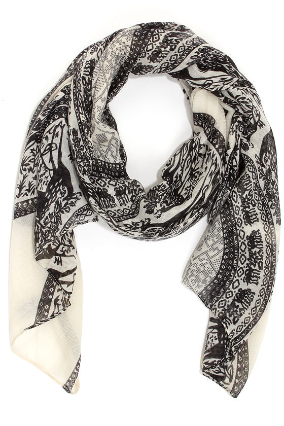 Near and Deer Black Print Scarf - $11