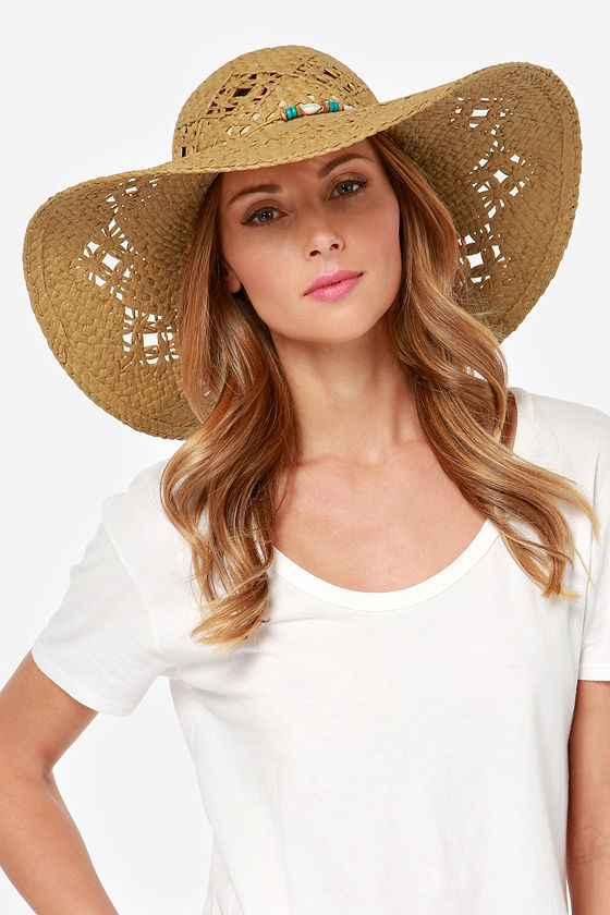 Roxy Shady Days Beaded Brown Straw Hat - $36