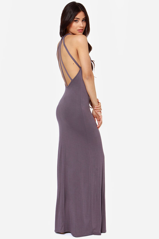 Strap and Gown Dusty Purple Maxi Dress - $53