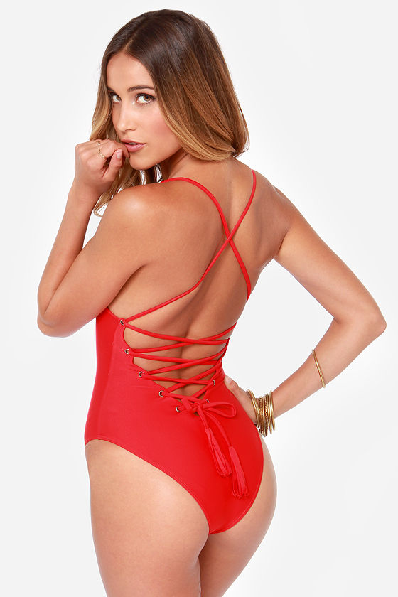 Mandalynn Nicole Lace-Up Red One Piece Swimsuit