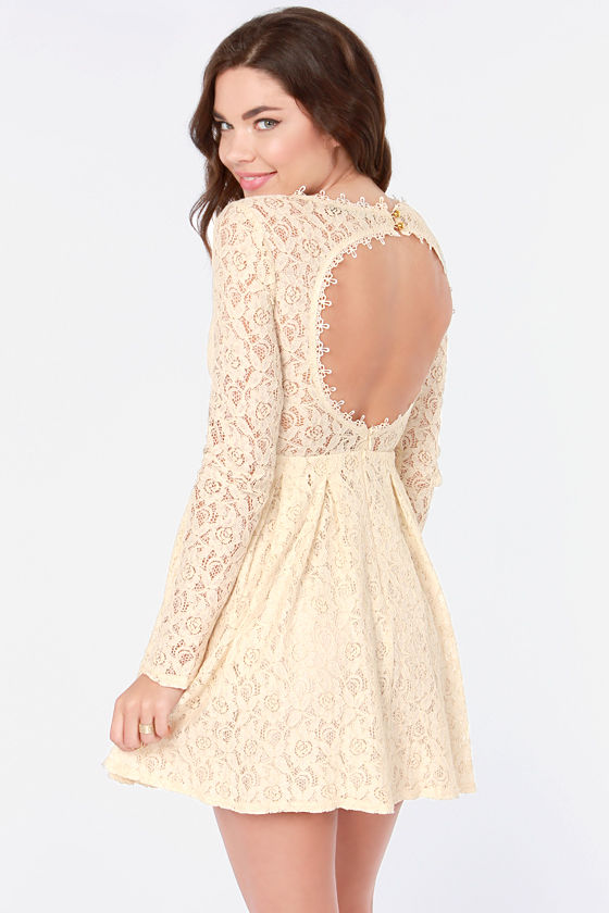 Romeo and Silhouette Cream Lace Dress - $69